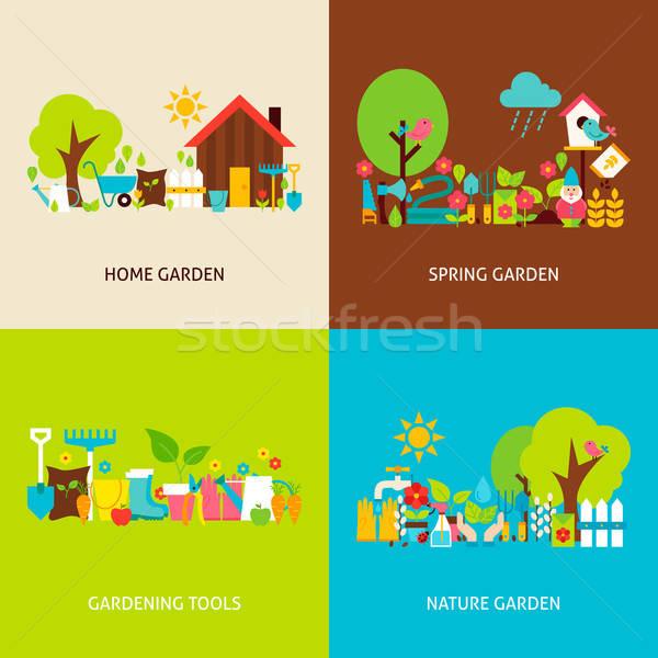 Spring Garden Vector Flat Concepts Set Stock photo © Anna_leni