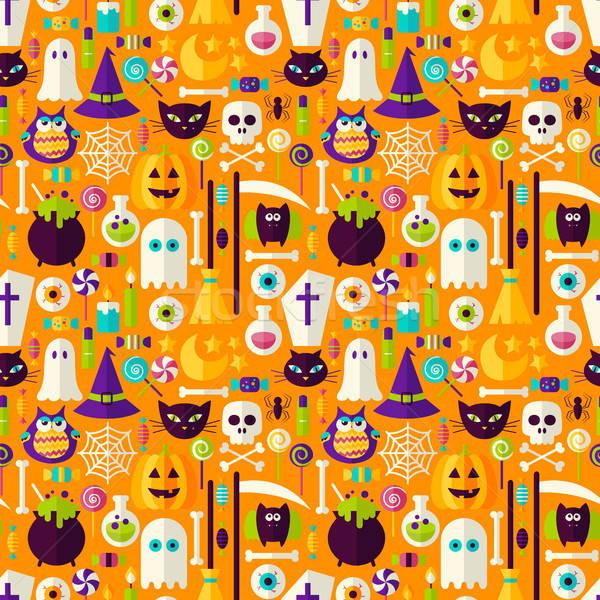 Halloween wakacje bezszwowy scary strony stylu Zdjęcia stock © Anna_leni