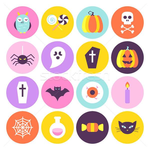 Halloween trendi kör ikon szett színek stílus Stock fotó © Anna_leni