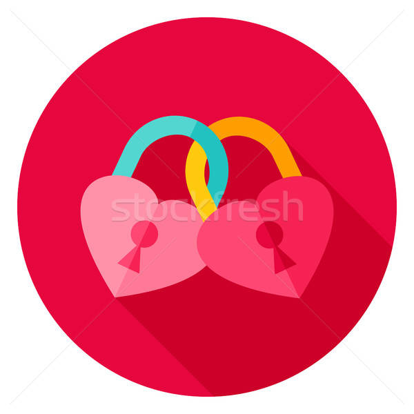 Coeurs cadenas cercle icône design longtemps Photo stock © Anna_leni