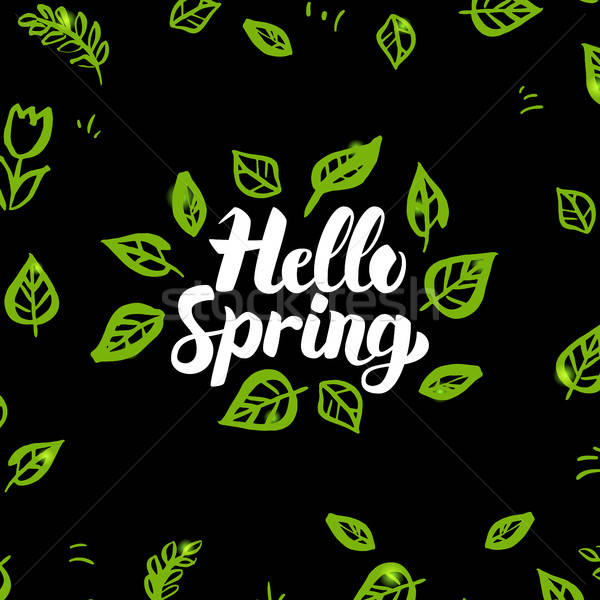 Merhaba bahar dizayn doğa kaligrafi Stok fotoğraf © Anna_leni