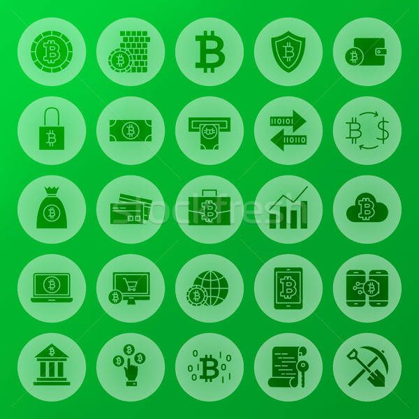 Cryptocurrency Solid Circle Icons Stock photo © Anna_leni
