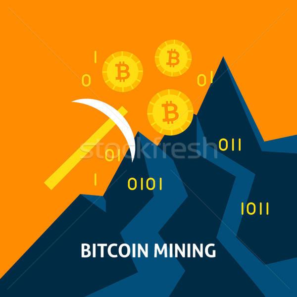 Bitcoin bányászat pénzügyi technológia üzlet számítógép Stock fotó © Anna_leni
