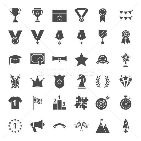 награда твердый веб-иконы вектора набор выиграть Сток-фото © Anna_leni