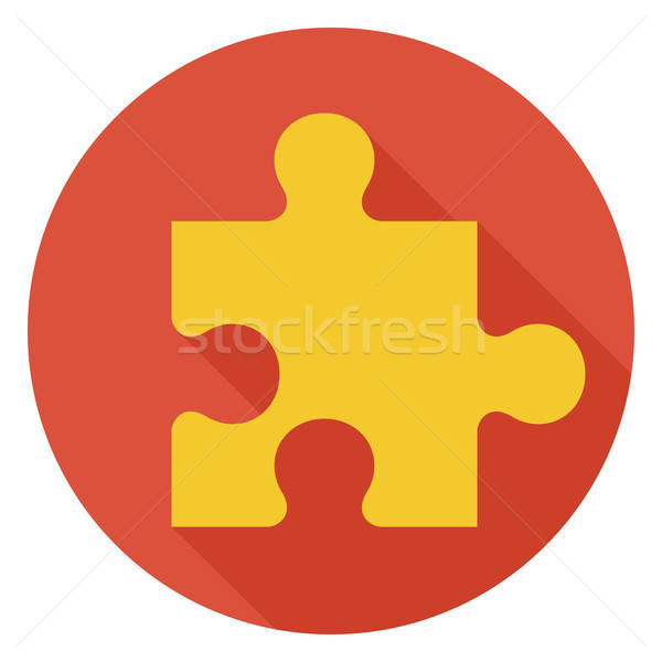 Flat Game Puzzle Circle Icon with Long Shadow Stock photo © Anna_leni