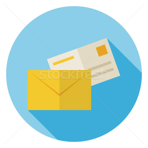 Flat Mail Envelope with Post Letter Circle Icon with Long Shadow Stock photo © Anna_leni