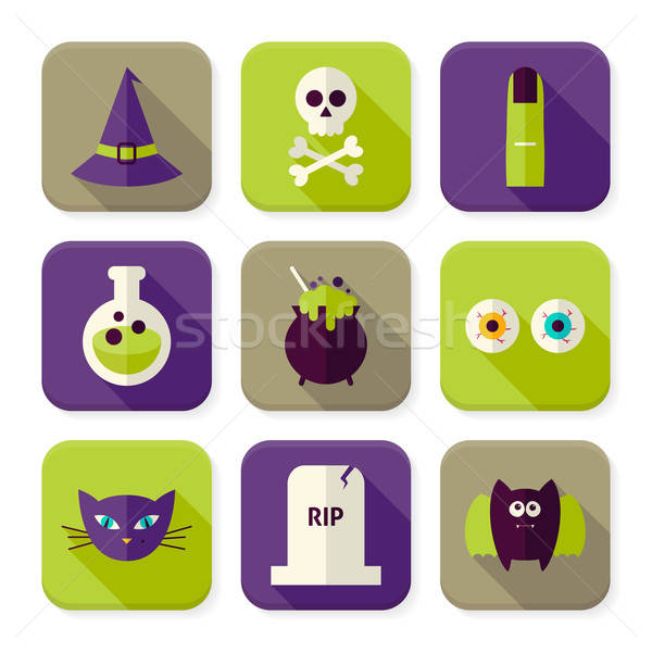 Flat Scary Halloween Witch Squared App Icons Set Stock photo © Anna_leni