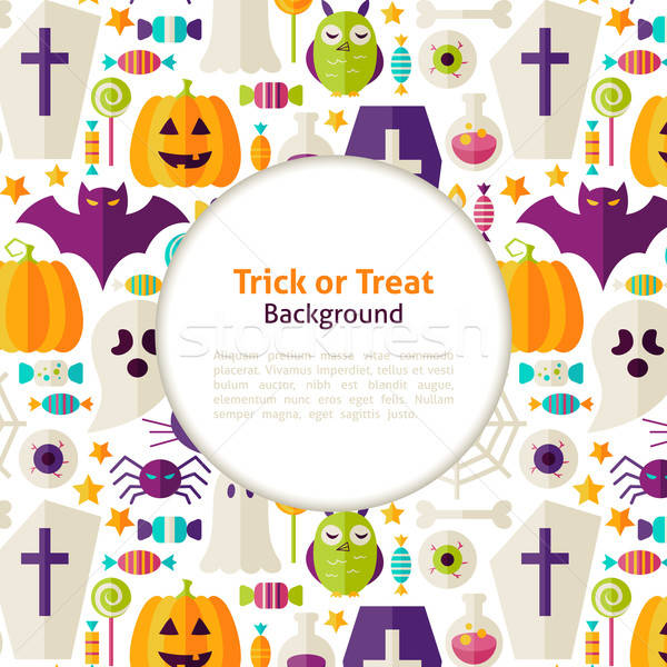Flat Vector Halloween Trick or Treat Background Stock photo © Anna_leni