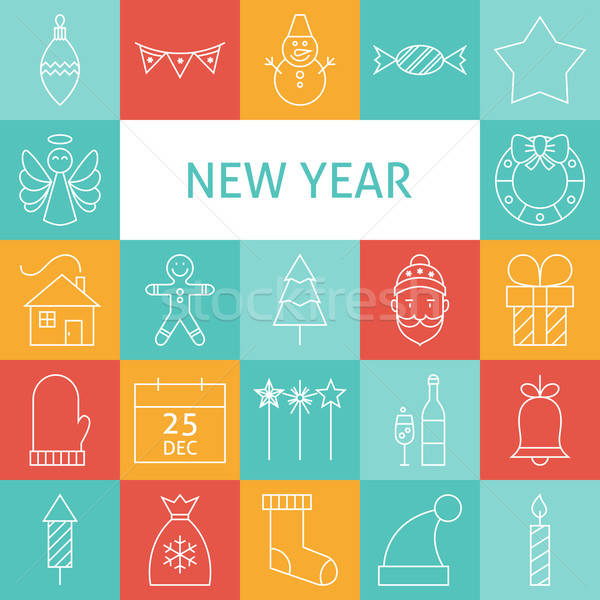 Vector Line Art Modern Happy New Year Holiday Icons Set Stock photo © Anna_leni