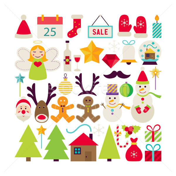 Big Flat Style Vector Collection of Happy New Year Objects Stock photo © Anna_leni