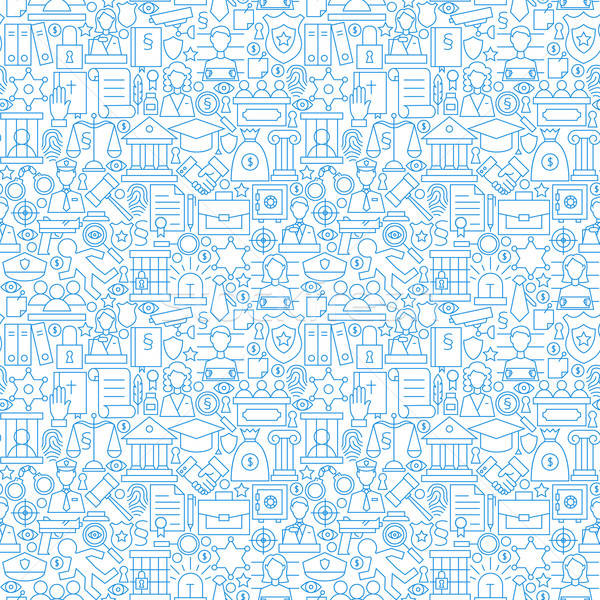 Thin Line Law Attorney and Justice White Seamless Pattern Stock photo © Anna_leni