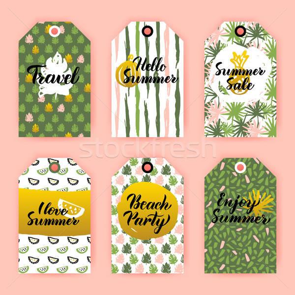 Hello nyár ajándék címkék 80-as évek stílus Stock fotó © Anna_leni