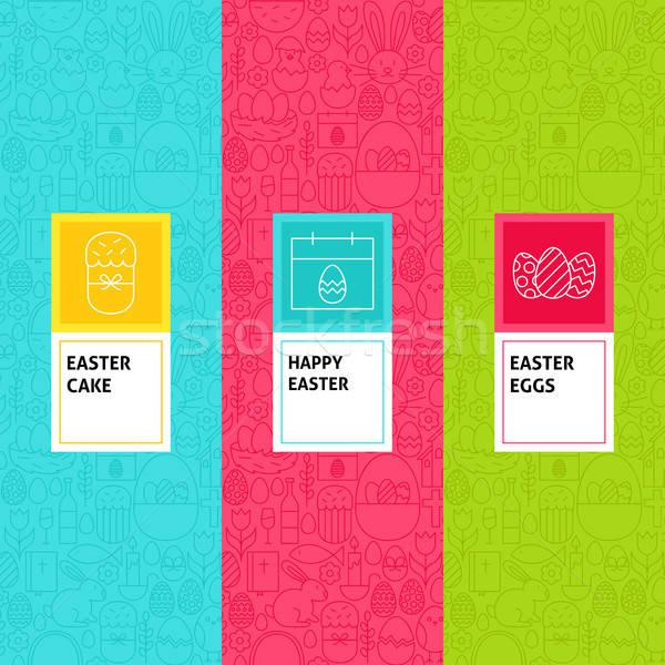 Stockfoto: Lijn · Pasen · patronen · ingesteld · logo-ontwerp · sjabloon