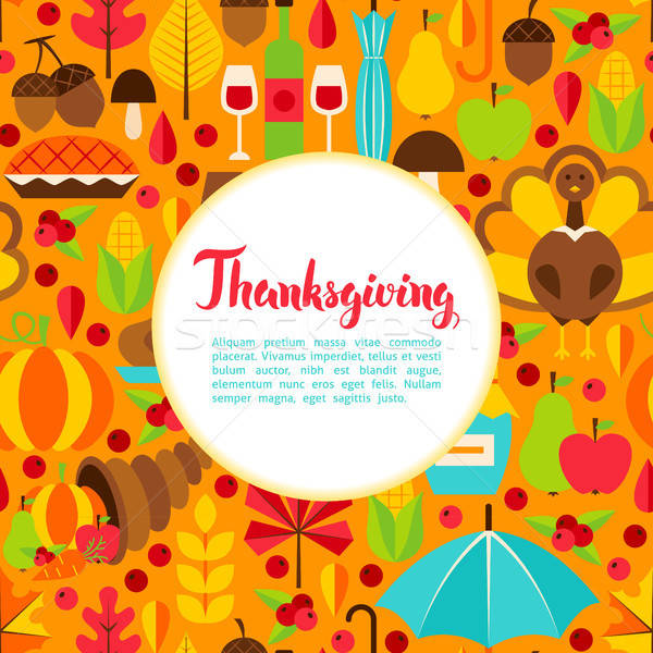 Stock photo: Flat Thanksgiving Day Greeting