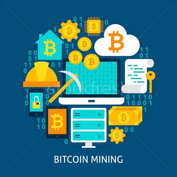 Bitcoin bányászat poszter terv szett üzlet Stock fotó © Anna_leni