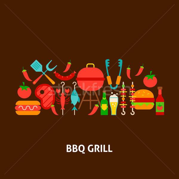 BBQ Grill Greeting Card Stock photo © Anna_leni