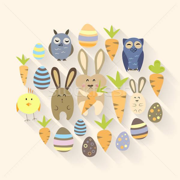 Stok fotoğraf: Paskalya · yumurtası · kuşlar · tavşanlar · havuç · simgeler · dizayn