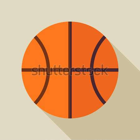 Flat Sports Ball Basketball Illustration with Long Shadow Stock photo © Anna_leni