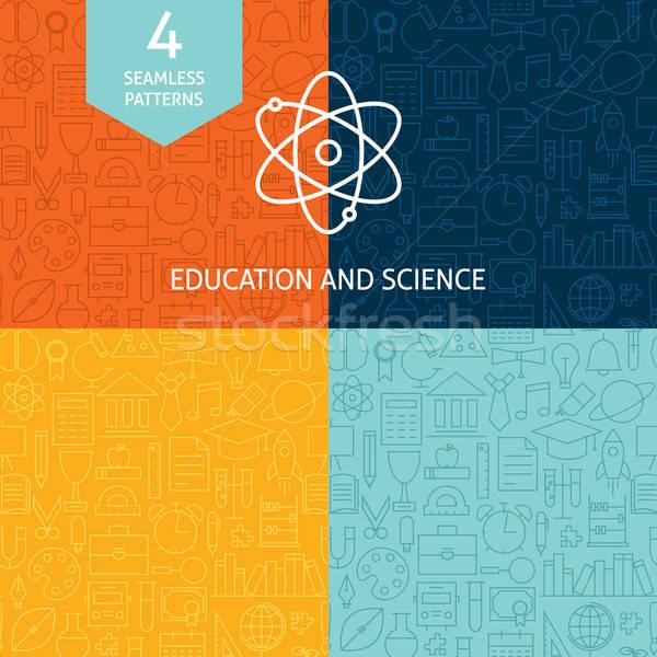 Thin Line Education Science School Patterns Set Stock photo © Anna_leni
