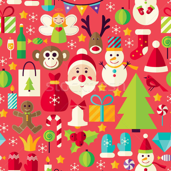 Happy New Year Vector Flat Design Red Seamless Pattern Stock photo © Anna_leni