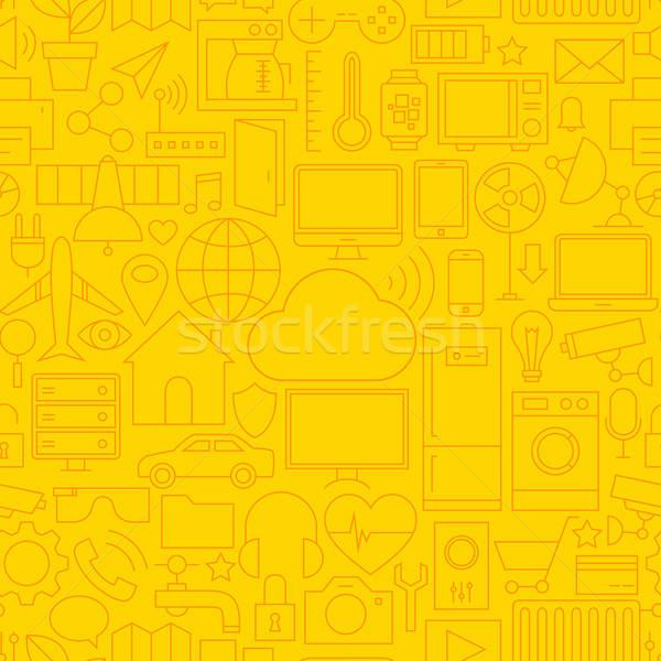 薄い 行 インターネット 物事 シームレス 黄色 ストックフォト © Anna_leni