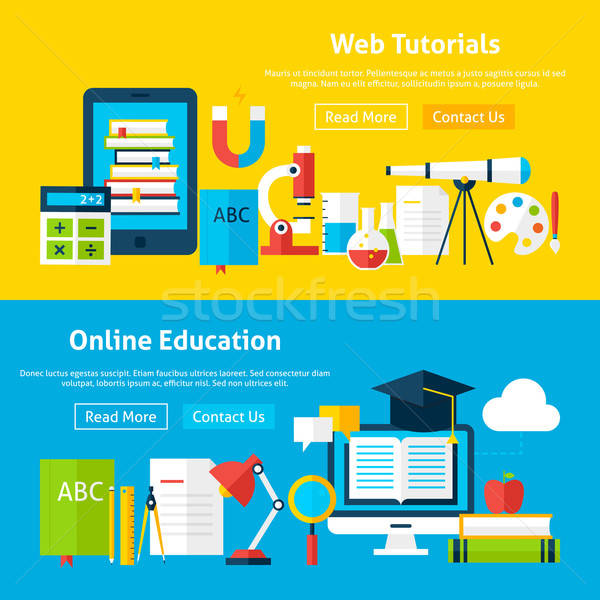 Web Tutorials and Online Education Flat Website Banners Stock photo © Anna_leni