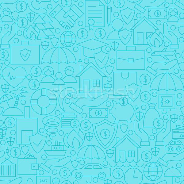 Thin Blue Insurance Line Seamless Pattern Stock photo © Anna_leni