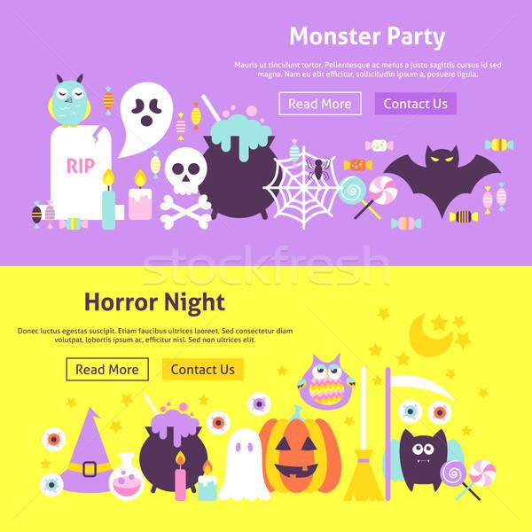 Foto stock: Halloween · teia · banners · horror