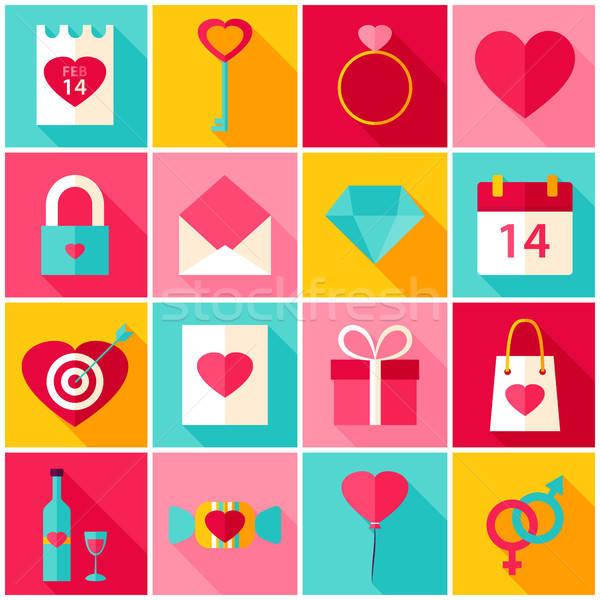 Valentin nap nap szeretet színes ikonok boldog Stock fotó © Anna_leni