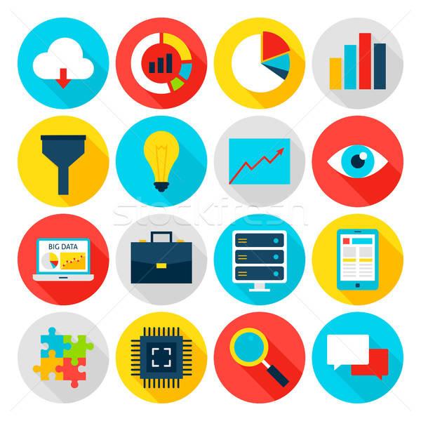 Big Data Flat Icons Stock photo © Anna_leni