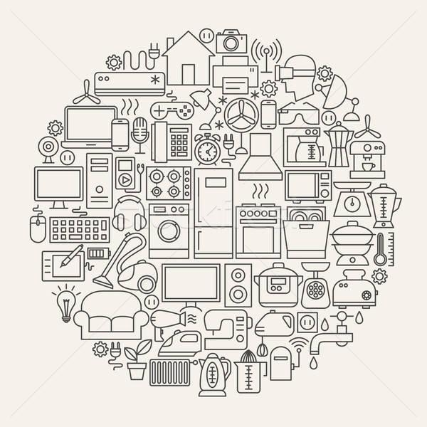 домашнее хозяйство линия иконки круга Сток-фото © Anna_leni