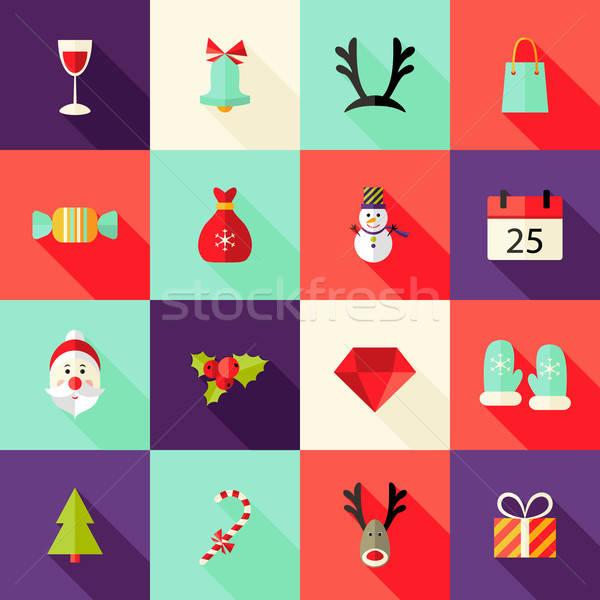 Christmas Square Flat Icons Set 2 Stock photo © Anna_leni