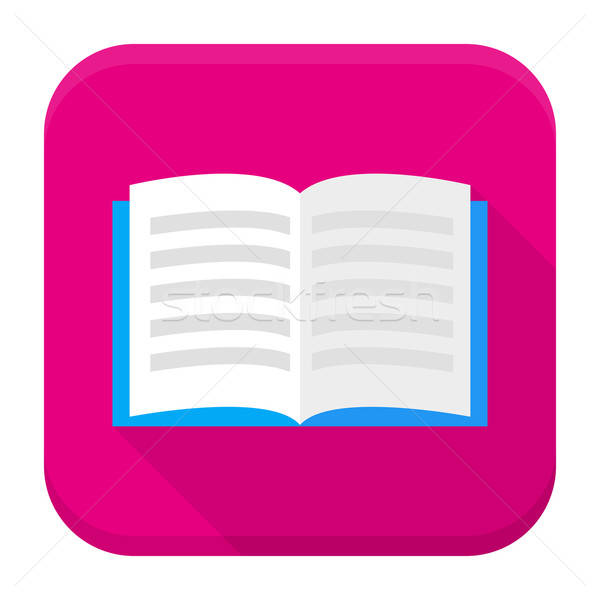 Open book app icon with long shadow Stock photo © Anna_leni