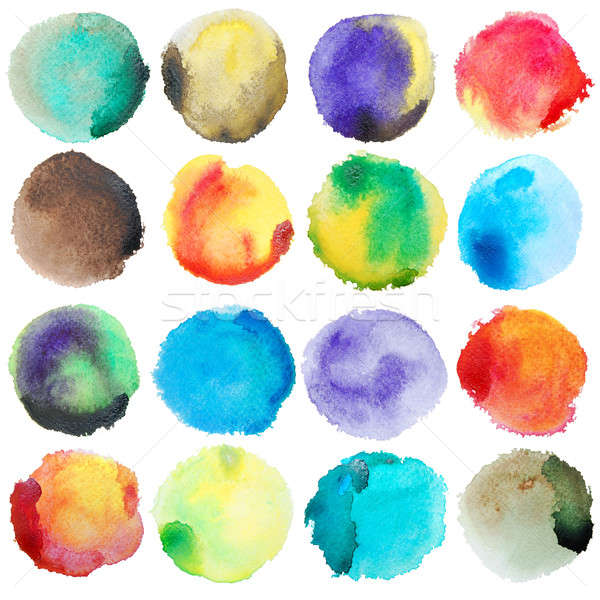 Watercolor Colorful Circles Big Set Stock photo © Anna_leni