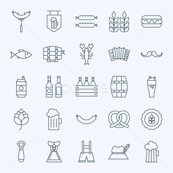 Line Holiday Oktoberfest and Beer Icons Set Stock photo © Anna_leni