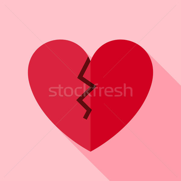 Vector Flat Design Broken Heart Icon Stock photo © Anna_leni