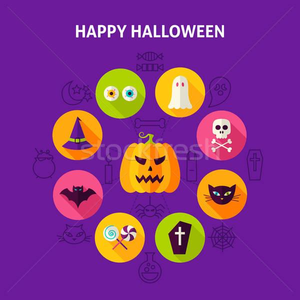 Feliz halloween truque infográficos Foto stock © Anna_leni