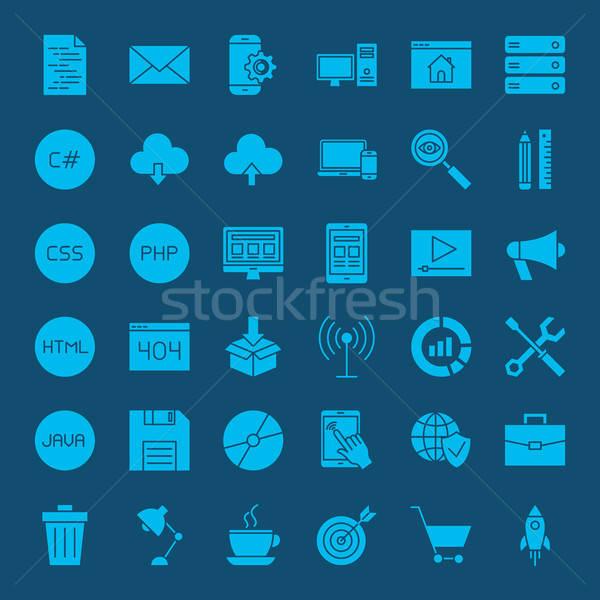Programming Glyphs Website Icons Stock photo © Anna_leni
