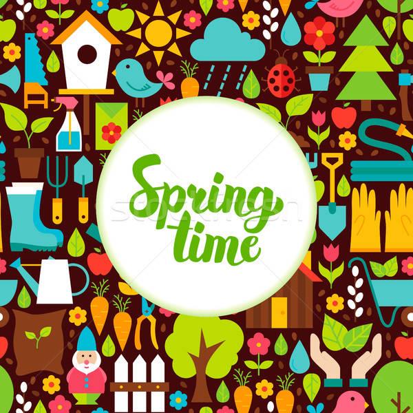 Flat Spring Time Greeting Stock photo © Anna_leni