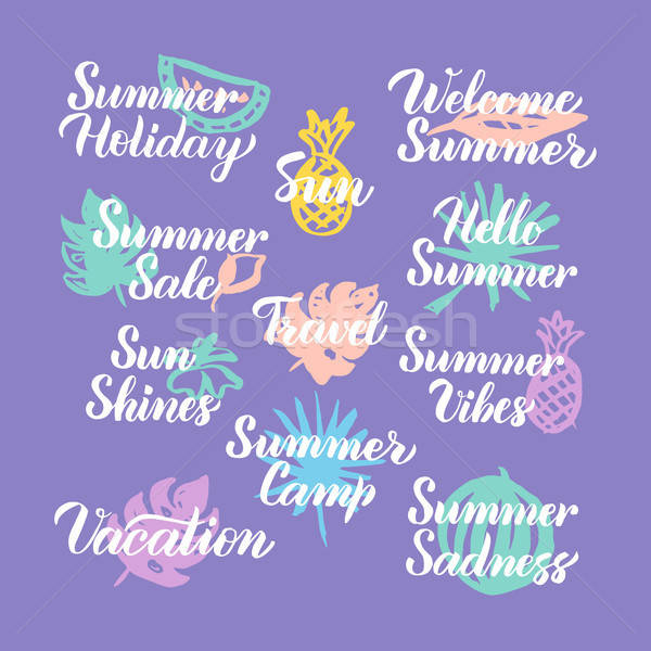 Summer Travel Time Hand Drawn Quotes Stock photo © Anna_leni