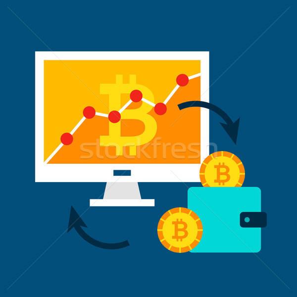 Bitcoin bilgisayar finansal teknoloji para izlemek Stok fotoğraf © Anna_leni