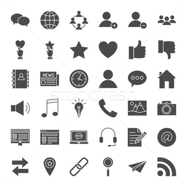 ストックフォト: ソーシャルメディア · 固体 · webアイコン · ベクトル · セット · ブログ