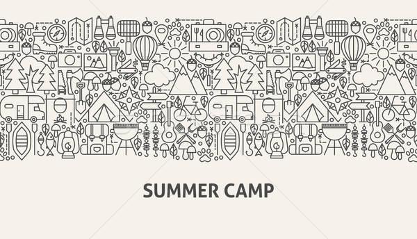 Yaz kampı afiş hat web tasarım gıda doğa Stok fotoğraf © Anna_leni