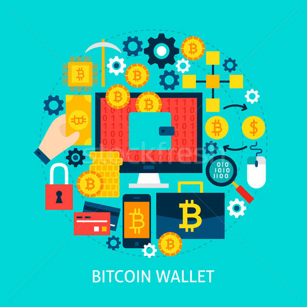 Bitcoin portefeuille affiche design technologie Photo stock © Anna_leni