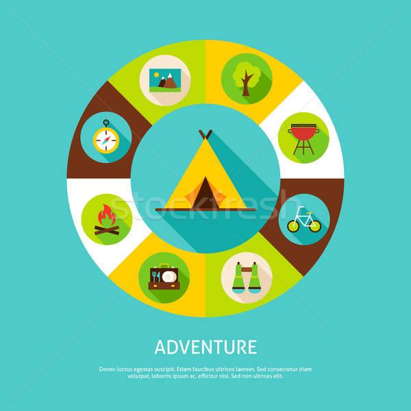Kaland kempingezés nyár infografika kör ikonok Stock fotó © Anna_leni