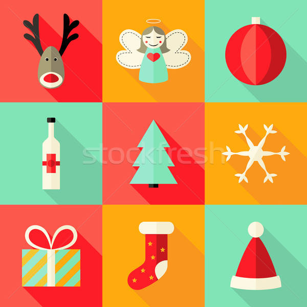 9 Christmas Flat Icons Set 4 Stock photo © Anna_leni