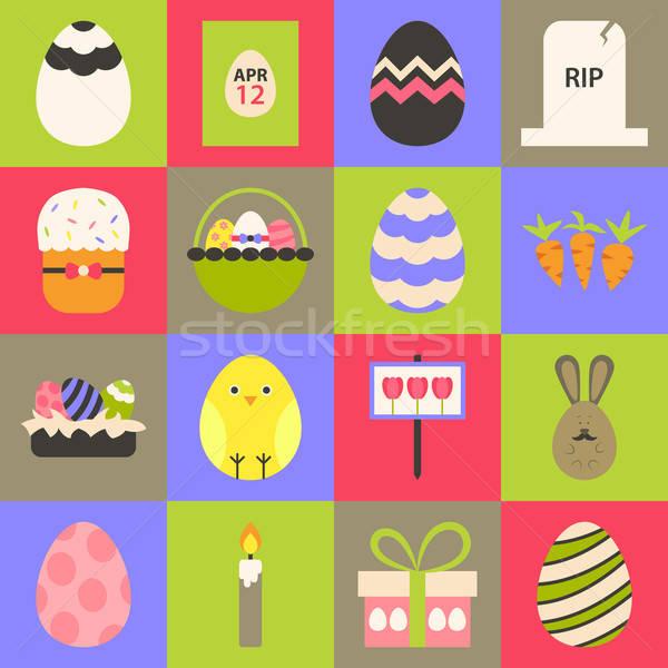 Stock fotó: Húsvét · stilizált · ikon · gyűjtemény · színes · ikon · szett · virág