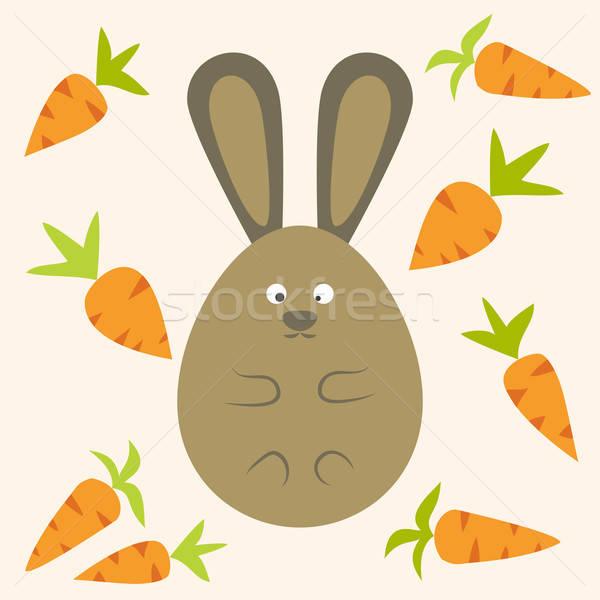 странно Bunny стилизованный яйцо морковь Сток-фото © Anna_leni
