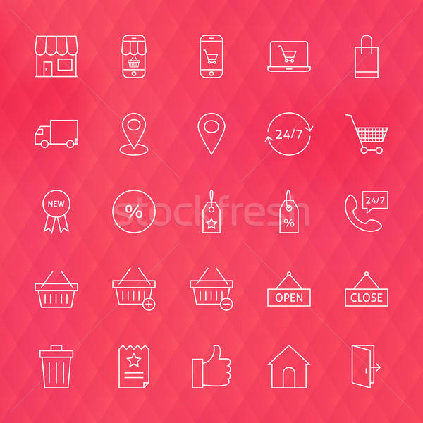 E-commerce and Finance Line Icons Set over Polygonal Blurred Bac Stock photo © Anna_leni