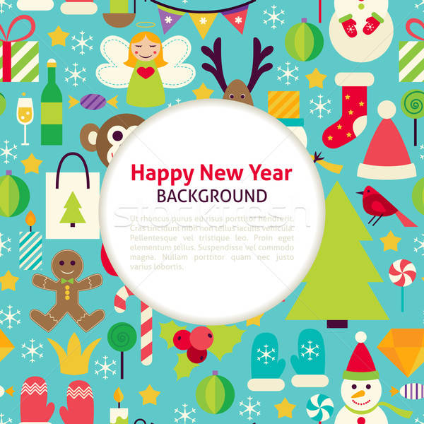 Stok fotoğraf: Happy · new · year · vektör · model · stil · neşeli · Noel